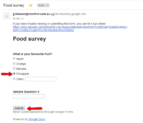 How To Embed A Google Form Poll Into An Email Google Forms Survey Form Google Tools