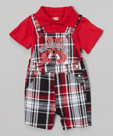 946235477d643 Loving this Black Plaid  Rebel Rocker  Shortalls   Red Polo - Infant on   zulily!  zulilyfinds