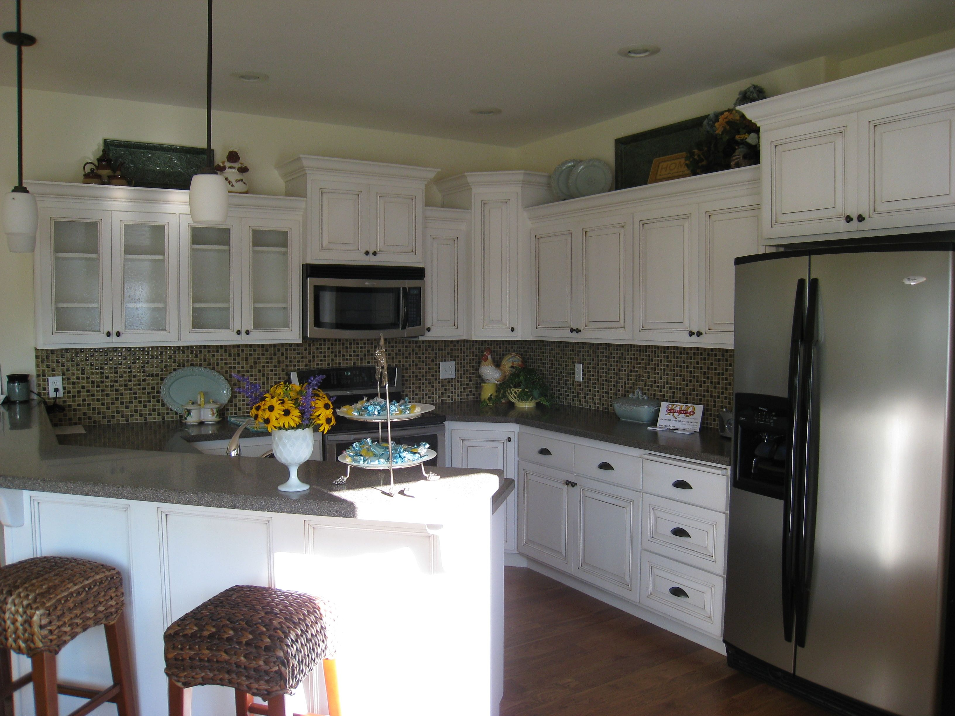 White cabinets with a darker granite top. | Cabinet, House ...