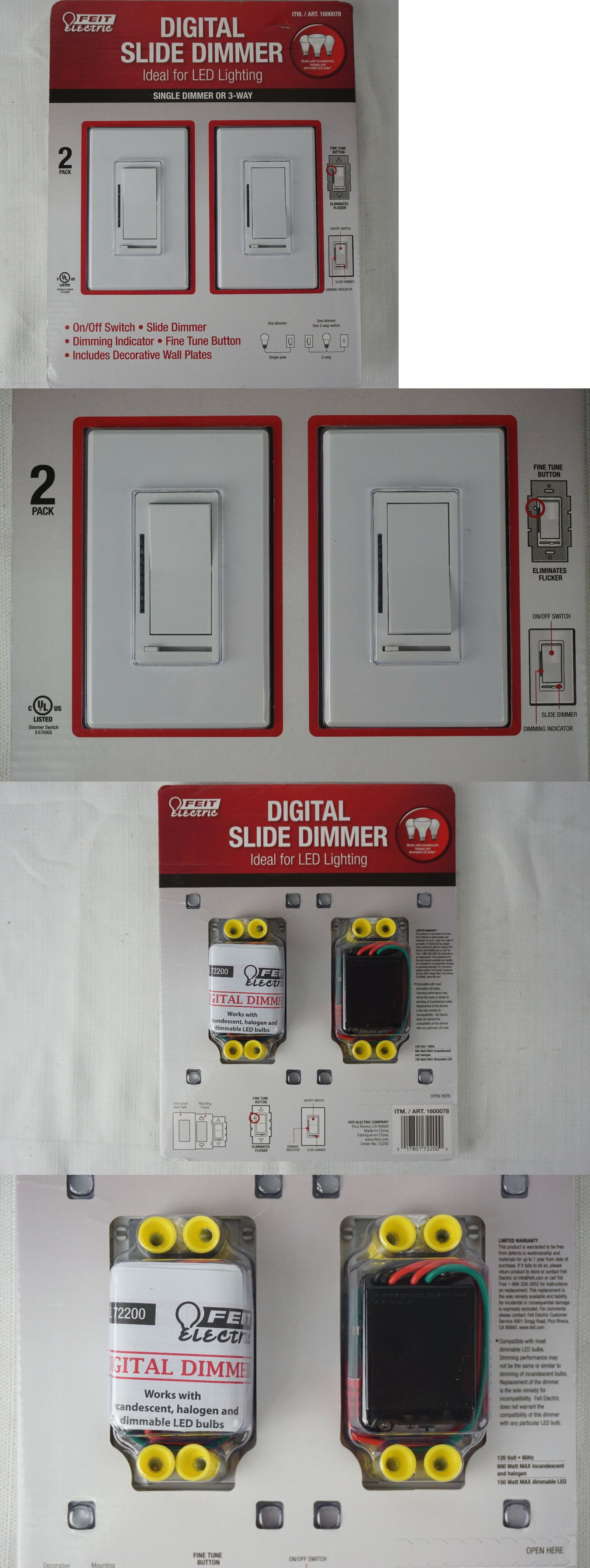 Dimmers 41984: 2 Pack Feit Electric Digital Slide Dimmer For