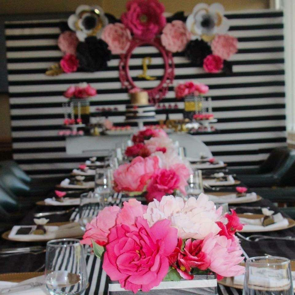 Black white pink and a little golden birthday party ideas black white pink and a little golden birthday party ideas dhlflorist Choice Image