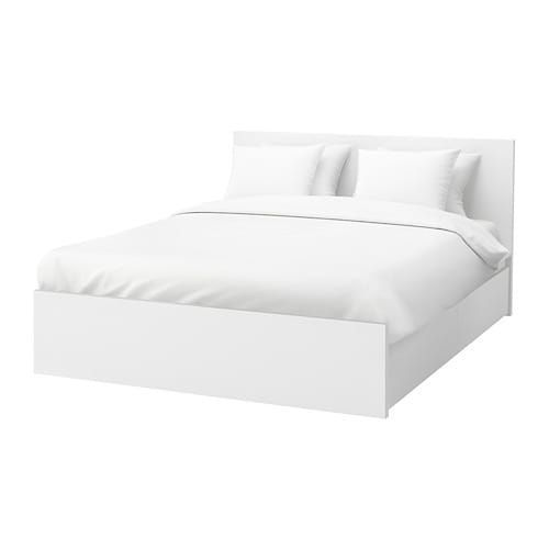 Photo of MALM High bed frame/4 storage boxes, white, Lönset, Full – IKEA
