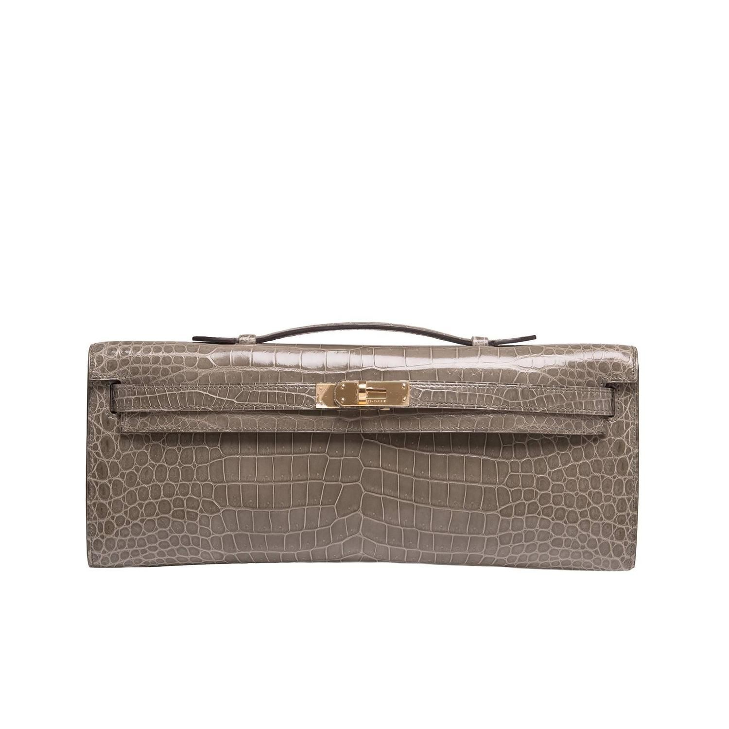 583ccbf46d ... order hermes gris tourterelle shiny porosus crocodile kelly cut from a  collection of rare vintage clutches