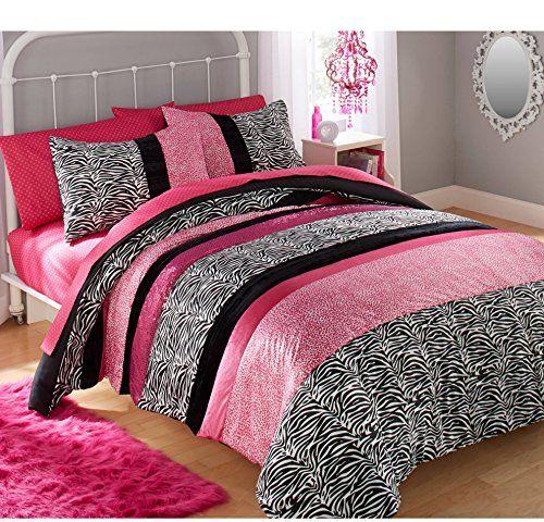 Ca 2 Piece Girls Hot Pink Glitter Cheetah Print Comforter