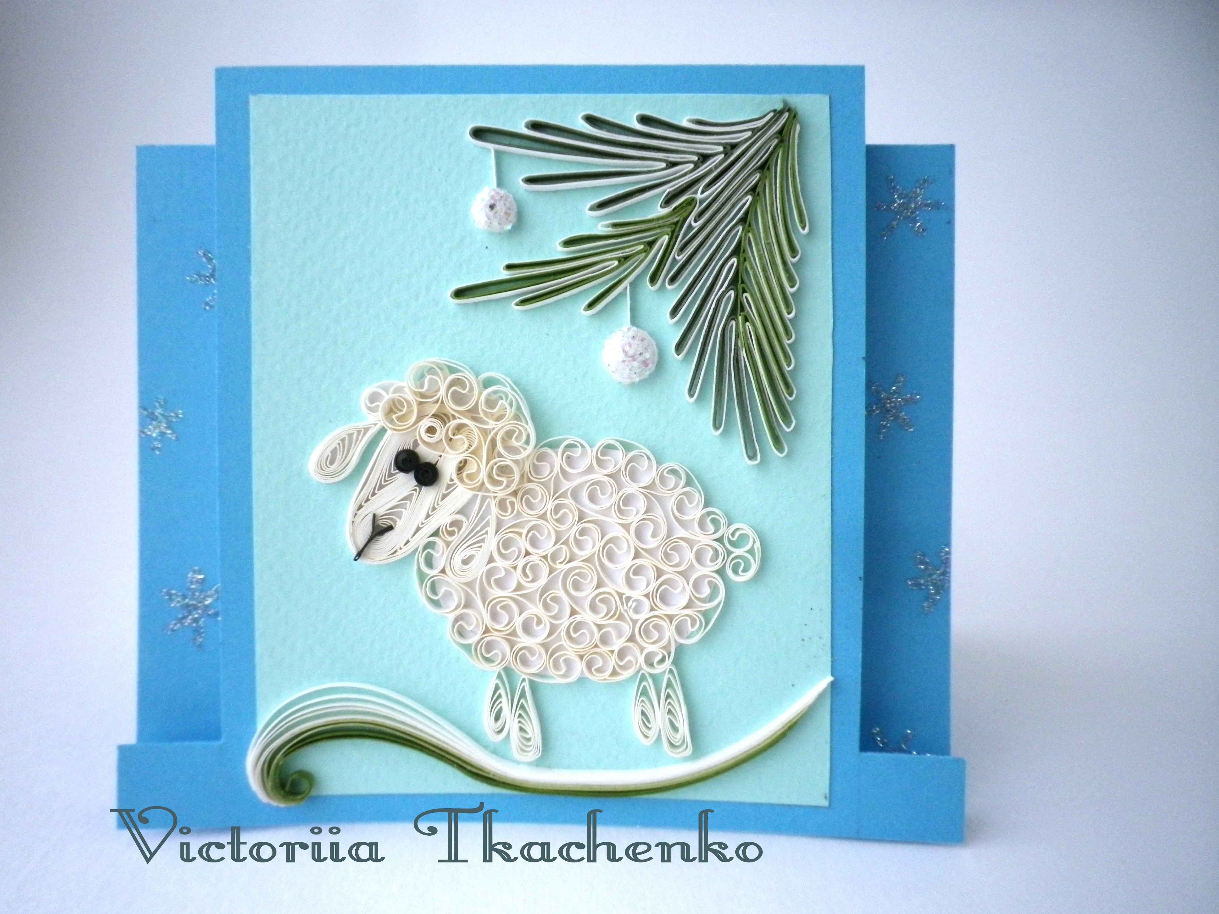 Quilling greeting card christmas quilling card new year quilling quilling greeting card christmas quilling card new year quilling card with little sheep quilling ideaspaper m4hsunfo