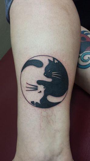 My Yin Yang Cat Tattoo Done At Sacred Art Tattoo Sacred Art Tattoo Cat Tattoo Inspirational Tattoos