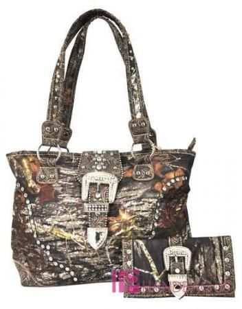 Mossy Oak Camo Western Belt Paisley Bling Tote Handbag Purse Wallet Set Brown Ebay