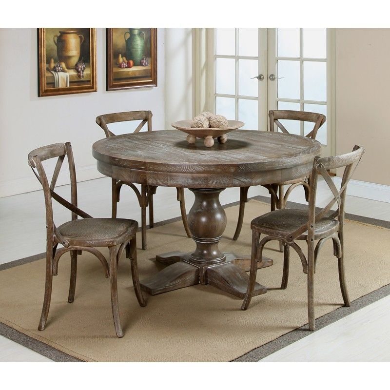 Utopia Round Dining Table With Utopia Chairs Distressed Charcoal