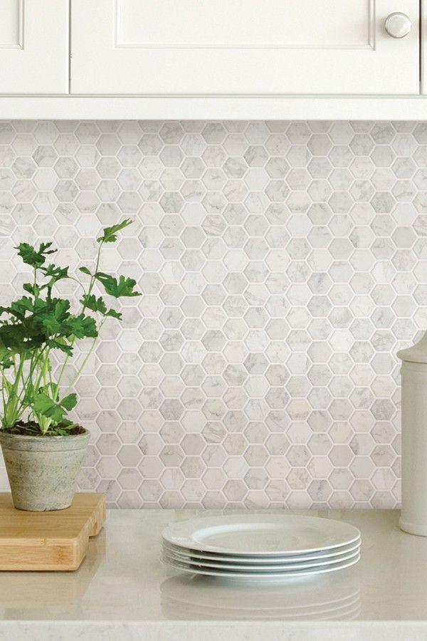 Brewster Home Fashions Hexagon Marble Peel u0026