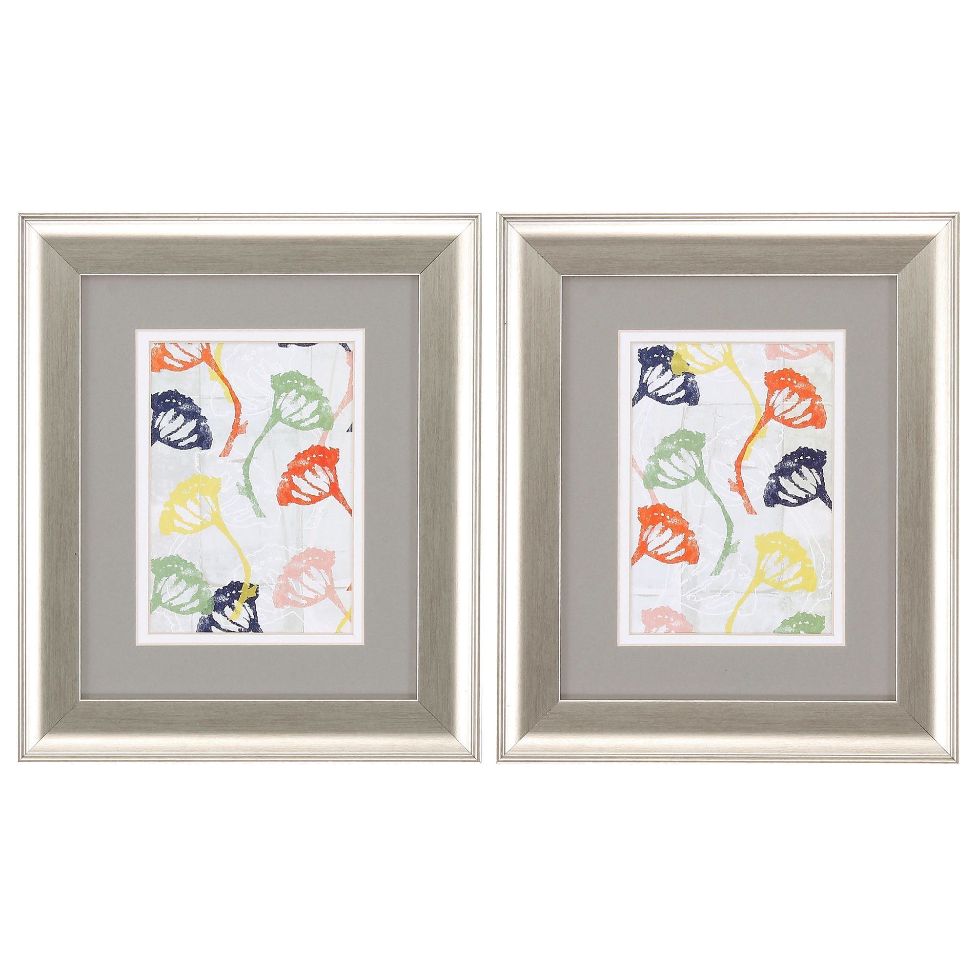 Stamped Floral 2 Piece Framed Painting Print Set