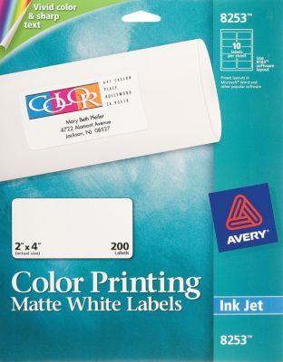 staples has the avery color printing matte white inkjet address