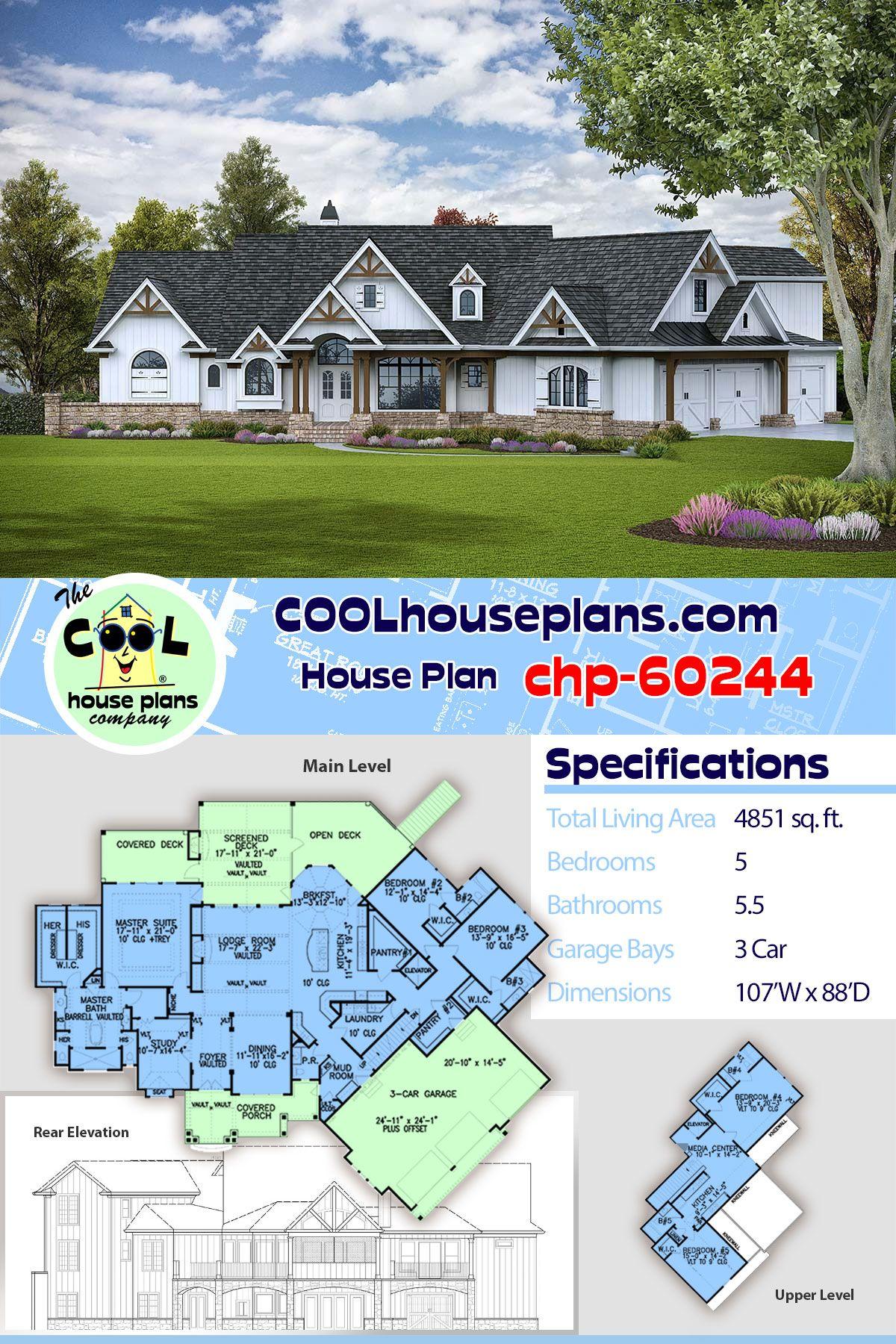 Luxury Craftsman House Plan chp-60244 | Large Five Bedroom Home Floor Plan