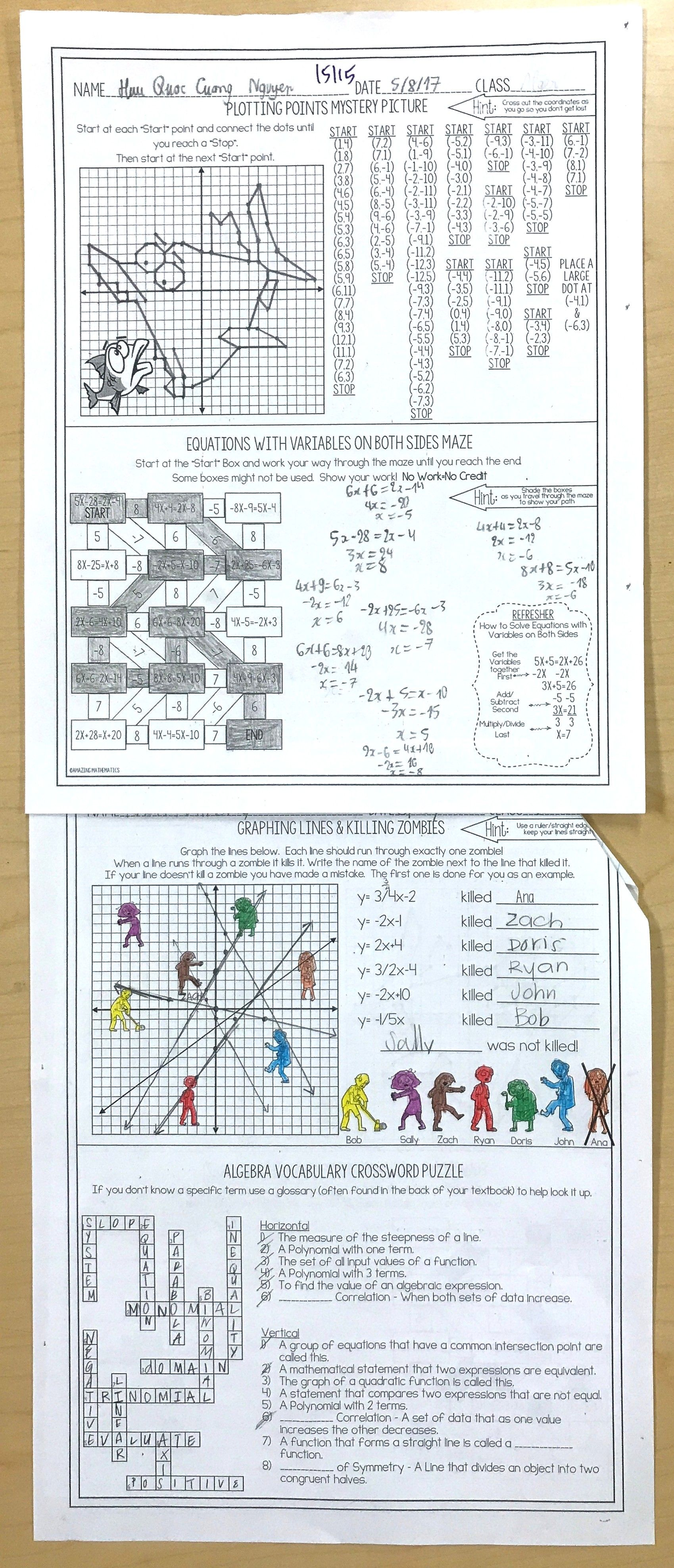 Worksheets Substitute Teacher Worksheets algebra 1 no prep sub lesson substitute teacher and worksheetsteacher