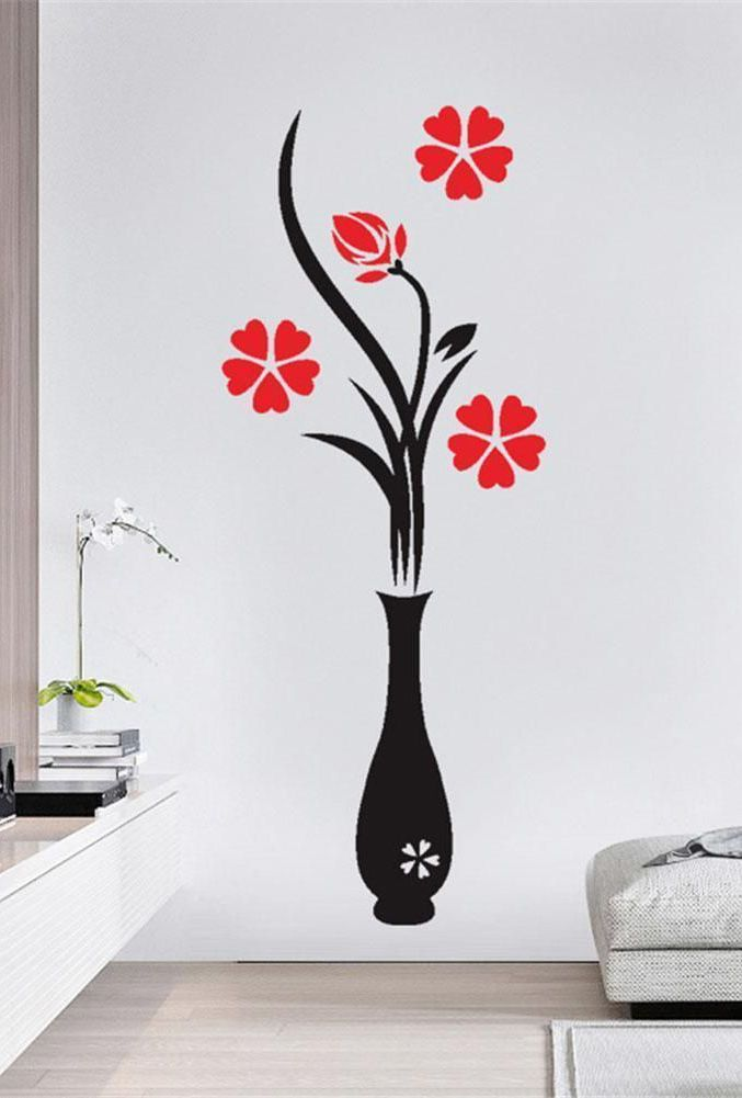 Diy Vase Flower Tree 3d Wall Stickers In 2020 With Images Simple Wall Paintings Wall Stickers Bedroom