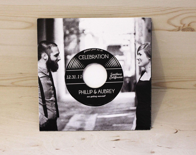 diy cd wedding invitations%0A retro vintage record wedding invitation  authentic vinyl record            via Etsy