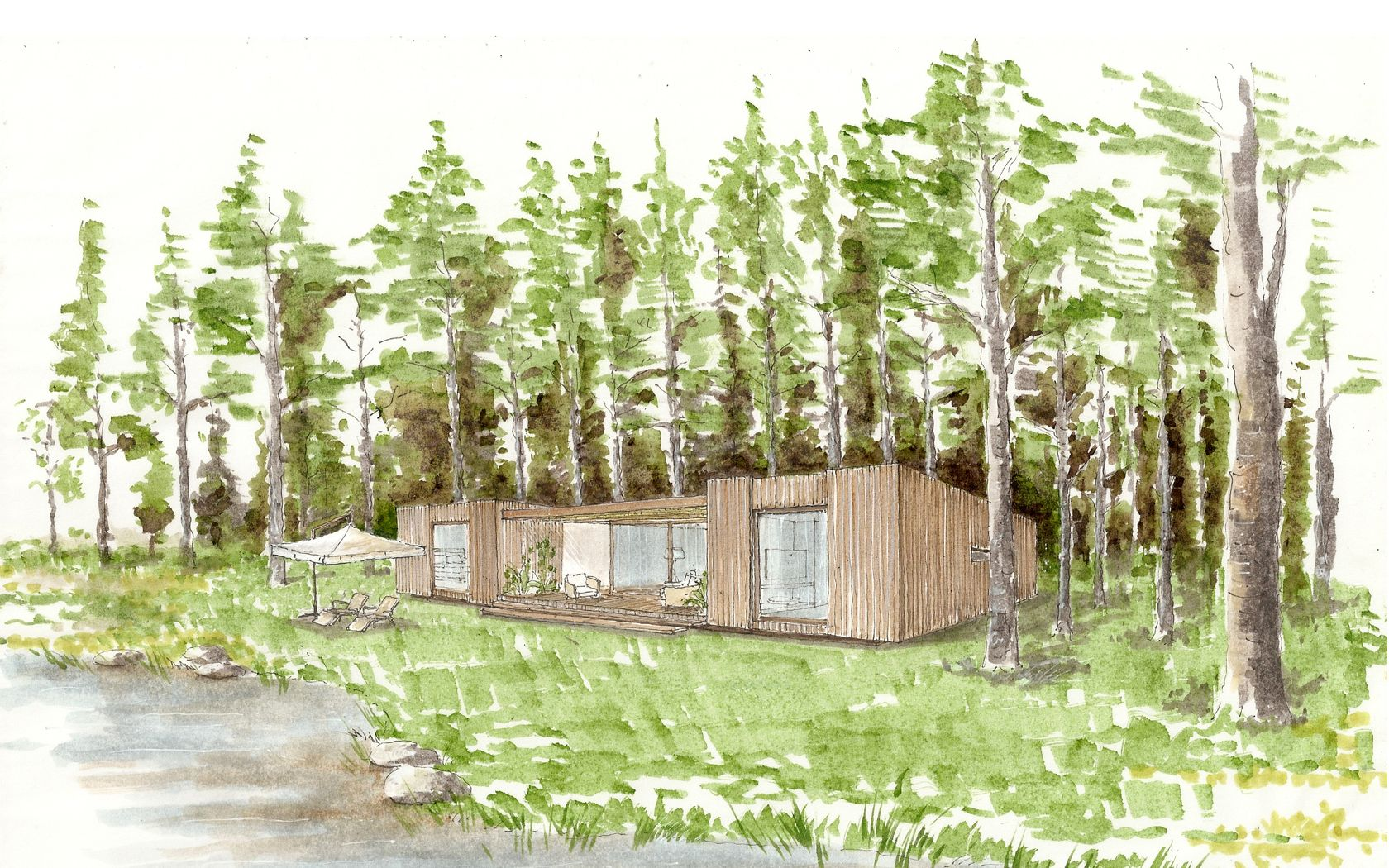 """I like the split layout and covered porch in this cabana """"Las Peidras"""" in Uraguay"""