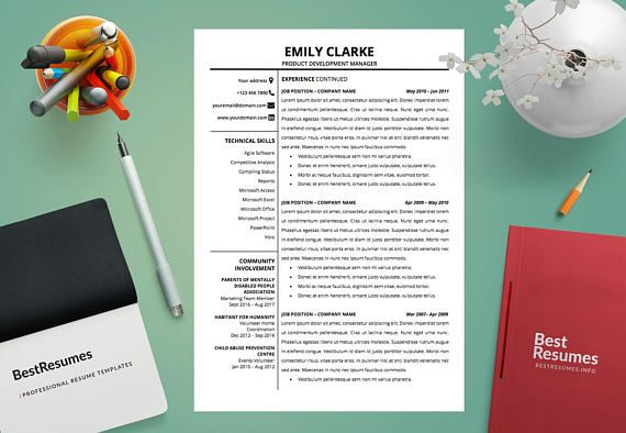 Modern Resume Template, Resume Template Word, Clean Resume Template