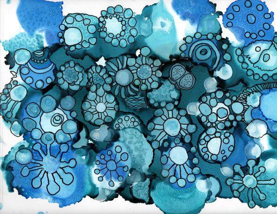 Original_peinture abstraite de fleurs d'hiver et par theInkArtLab