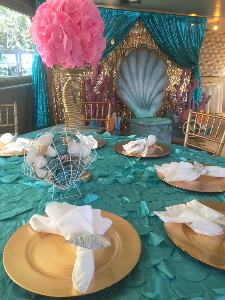 Mermaid theme baby shower for baby Bella CatchMyParty