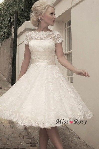 knee length lace wedding dresses