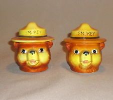 Vintage Smokey the Bear Salt and Pepper Shakers (1950s, Norcrest, Japan)