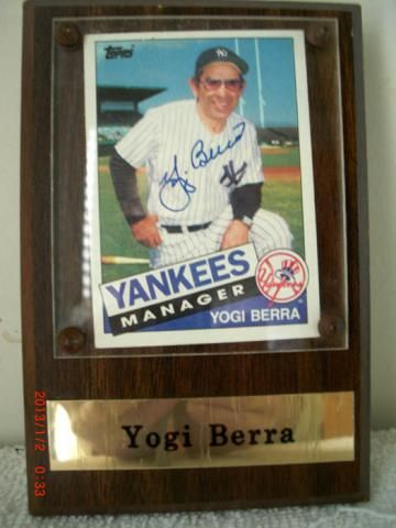 Yogi Berra Yankees Manager Autographed Topps Baseball Card In A