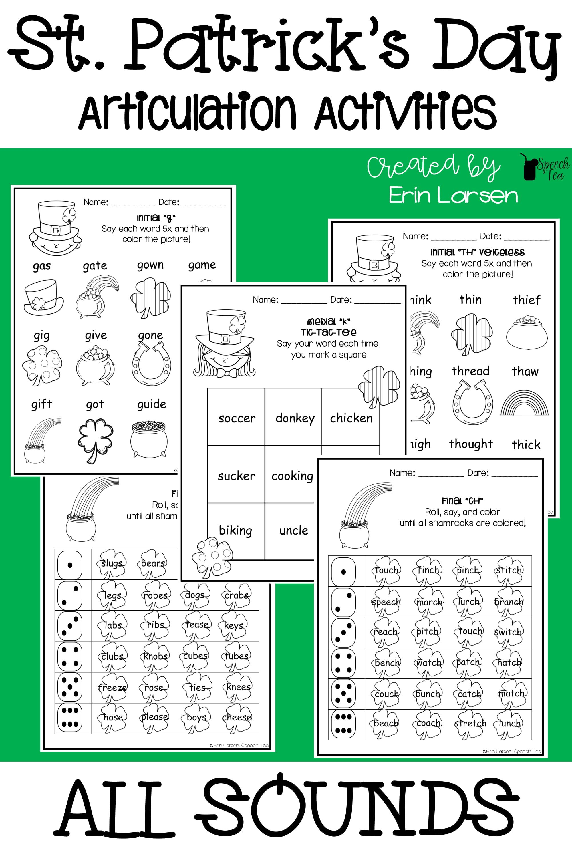 St. Patrick's Day Articulation Activities for ALL SOUNDS. Great to send home for practice. Click for more info.