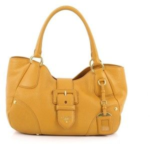 Pre Owned Prada Buckle Flap Tote Vitello Daino Medium Genuine Leather Totes Bags Leather Handbags Tote