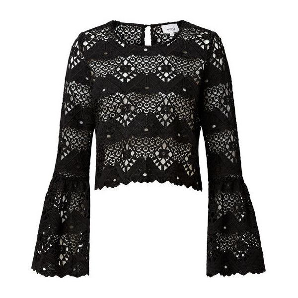 fae2edf7a4de4 Lace Crop Bell Sleeve Top ( 110) ❤ liked on Polyvore featuring tops ...