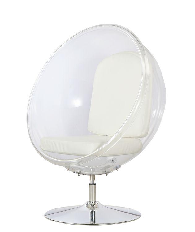 Eero Aarnio Style Ball Acrylic Chair White Cushion ...