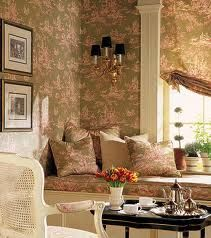 Anna French Toile Wallpaper And Fabric With A Touch Of Black On The Sconce Shades Coffee Table