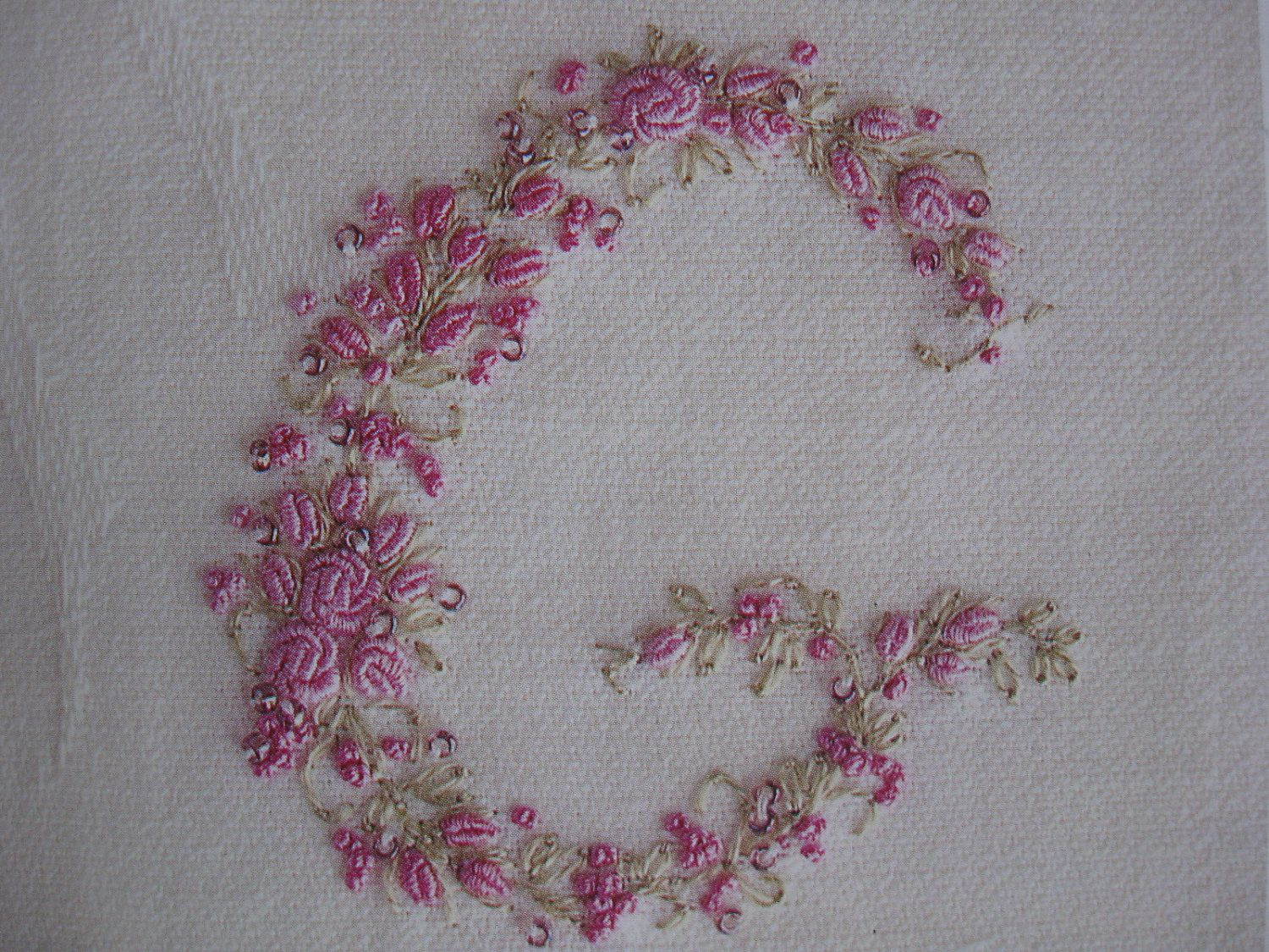 Vintage ladies handkerchief hand embroidery monogram