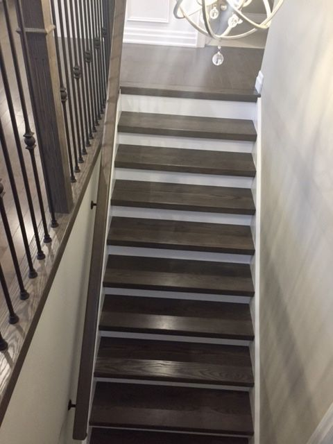Grey Brown Tones On Staircase With White Risers And Stringers | Dark Stained Stairs With White Risers | Restain | Tread | 2 Colour | Staining | Glossed