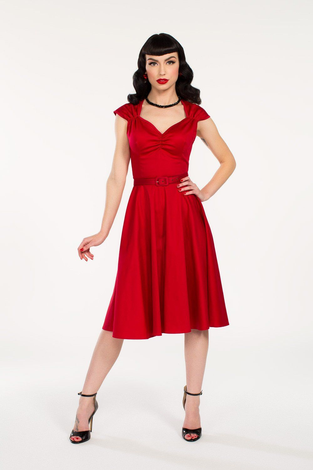Pinup couture heidi dress in red vintage style dress pinup girl