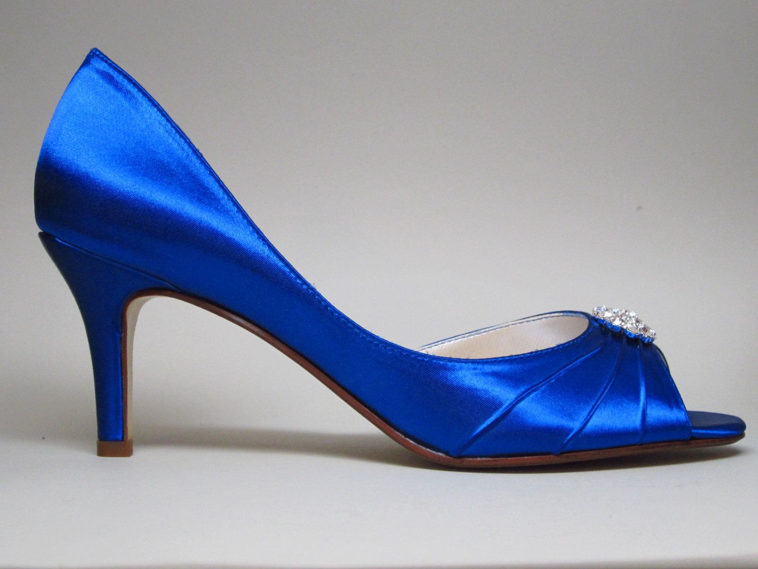 Blue Wedding Shoes Royal Kitten Heels With Simple Rhinestone Adornment 9450