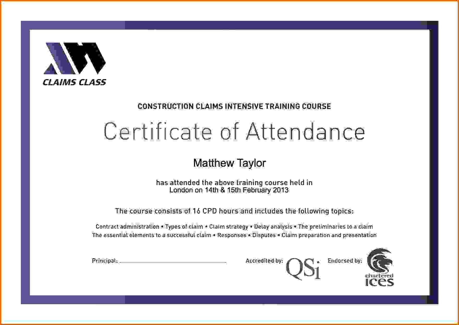Certificate Attendance Templatec Certification Letter Internship