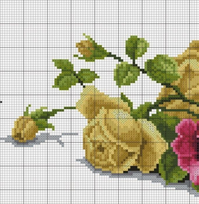Embroidery-designs, Κεντήματα-σχέδια, Λουλούδια, Κεντημένο μπουκέτο με τριαντάφυλλα,