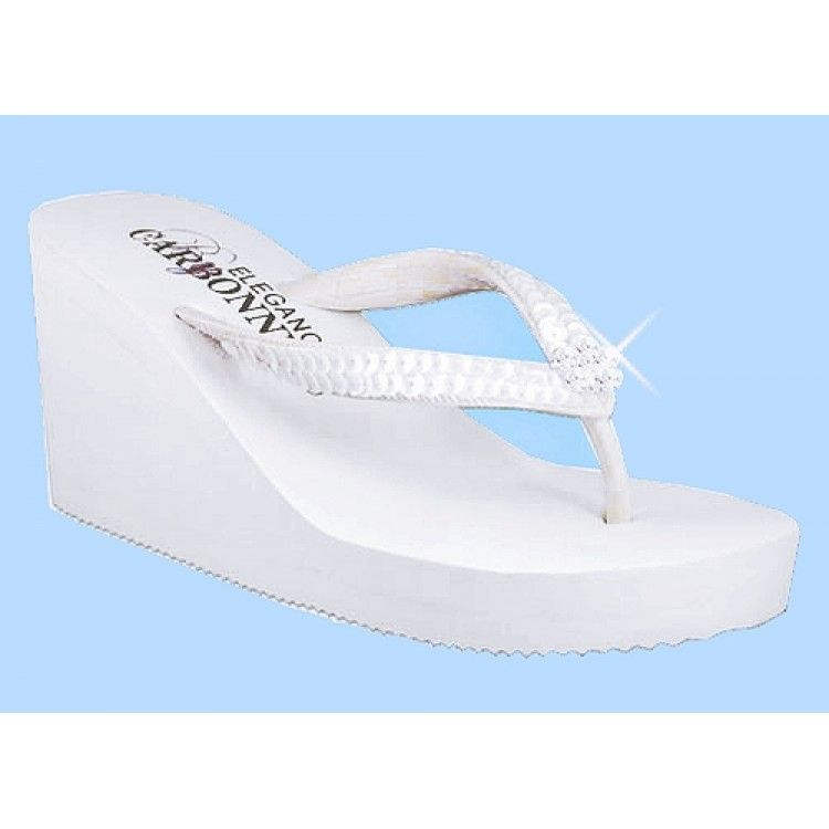 White Wedge Bridal Flip Flops High Wedge with Sequins and Crystals ...