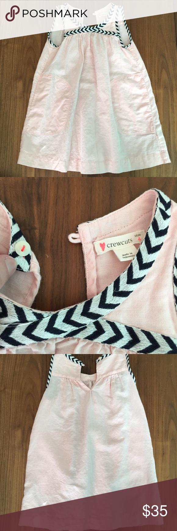 Crewcuts Toddler dress Crewcuts Toddler Dress.  Pale pink dress (60% linen 40% cotton), black and white chevron trim, front pockets, button closure, knee length.  Great condition, so cute! J. Crew Dresses