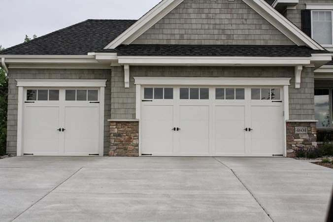 residential white carriage garage doors with top windows. Black Bedroom Furniture Sets. Home Design Ideas
