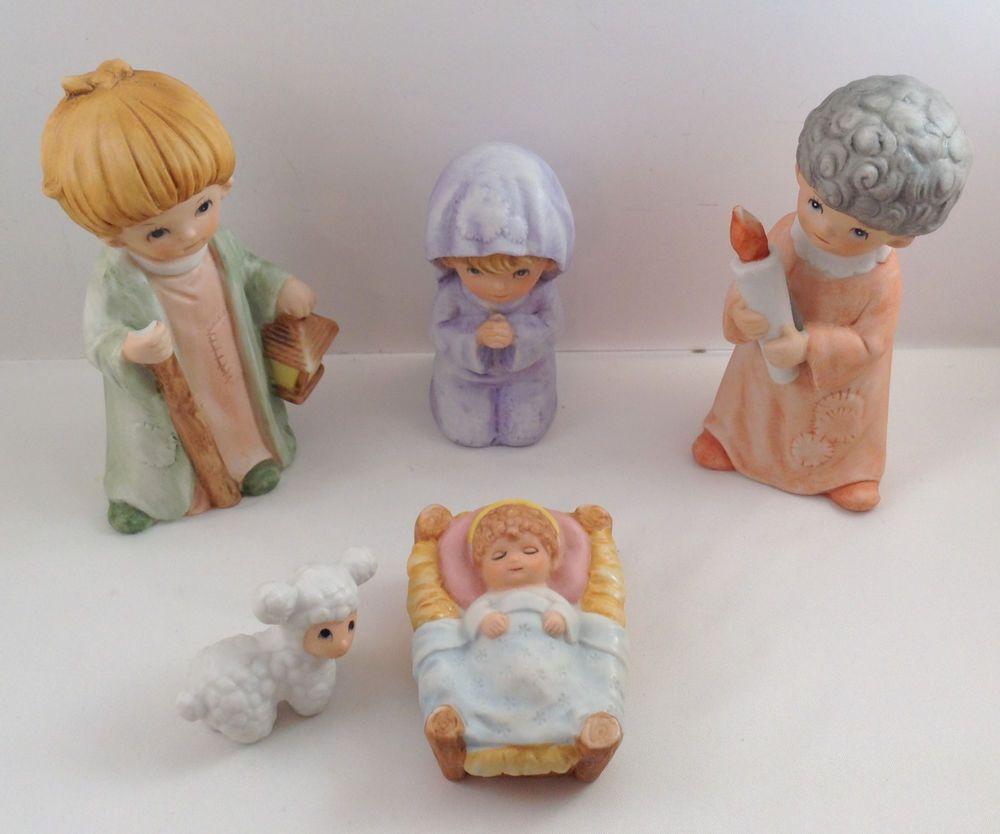Home interior jesus childrens nativity  piece set lamb baby jesus shepherd  home