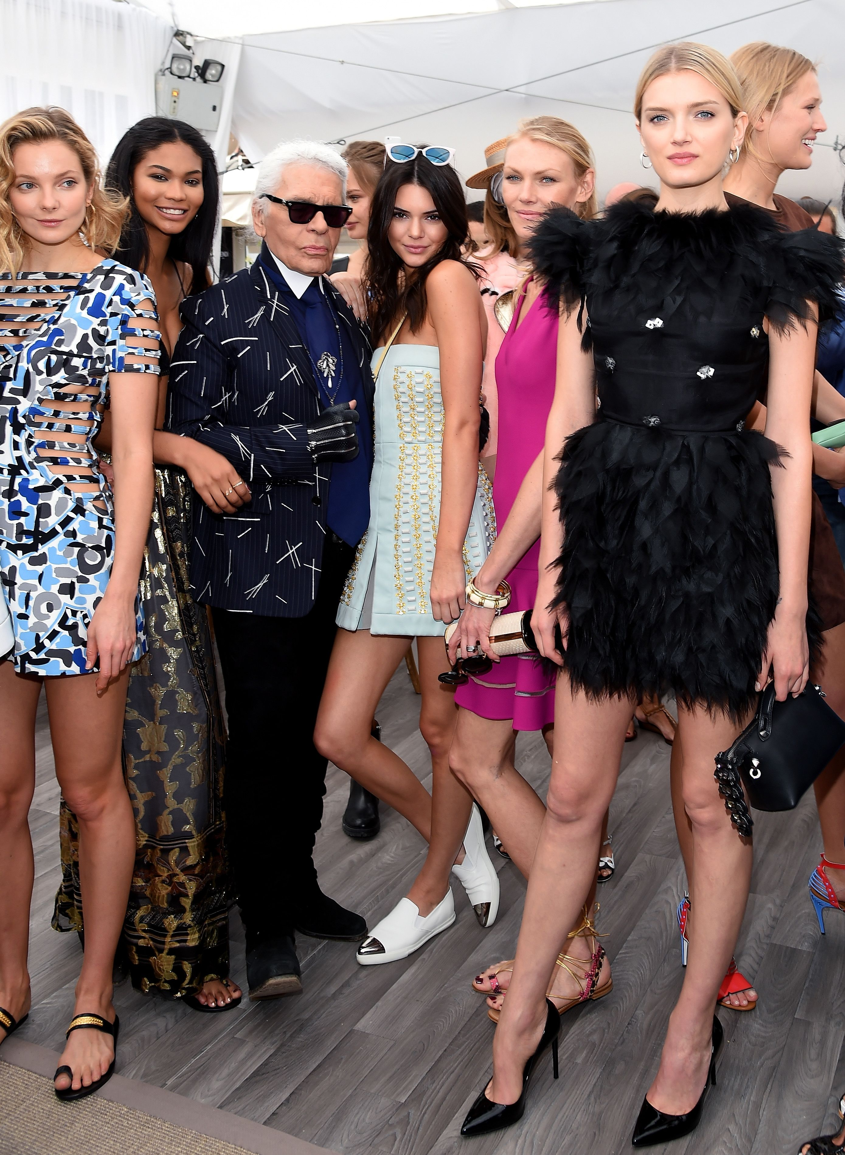 3022b7d640 Eniko Mihalik, Chanel Iman, Karl Lagerfeld, Kendall Jenner and Lily  Donaldson   Launch of