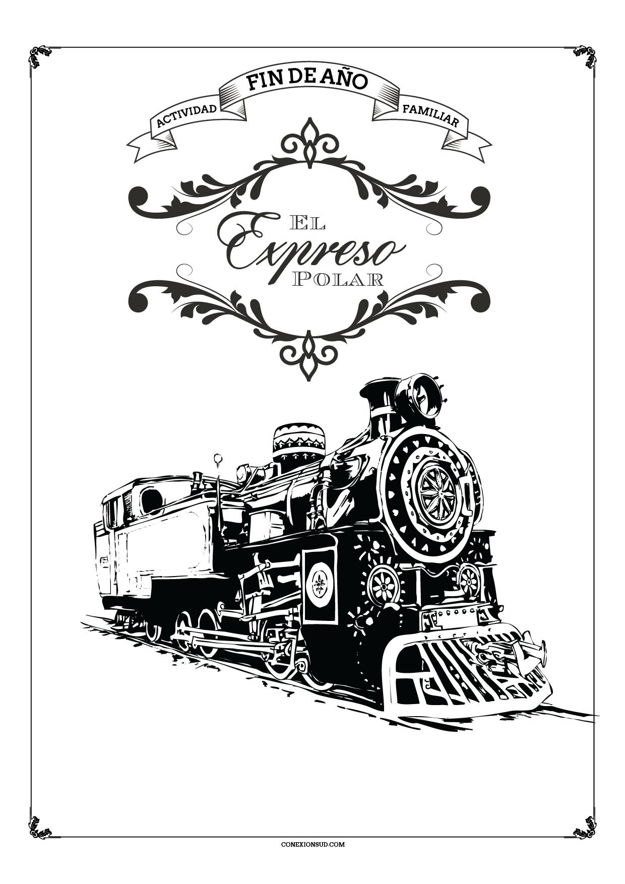 Famoso Tren Expreso Polar Para Colorear Patrón - Enmarcado Para ...