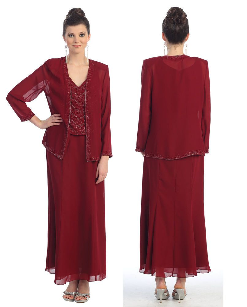Mother of bride church funeral modest long jacket evening for Cocktail dress with jacket for wedding
