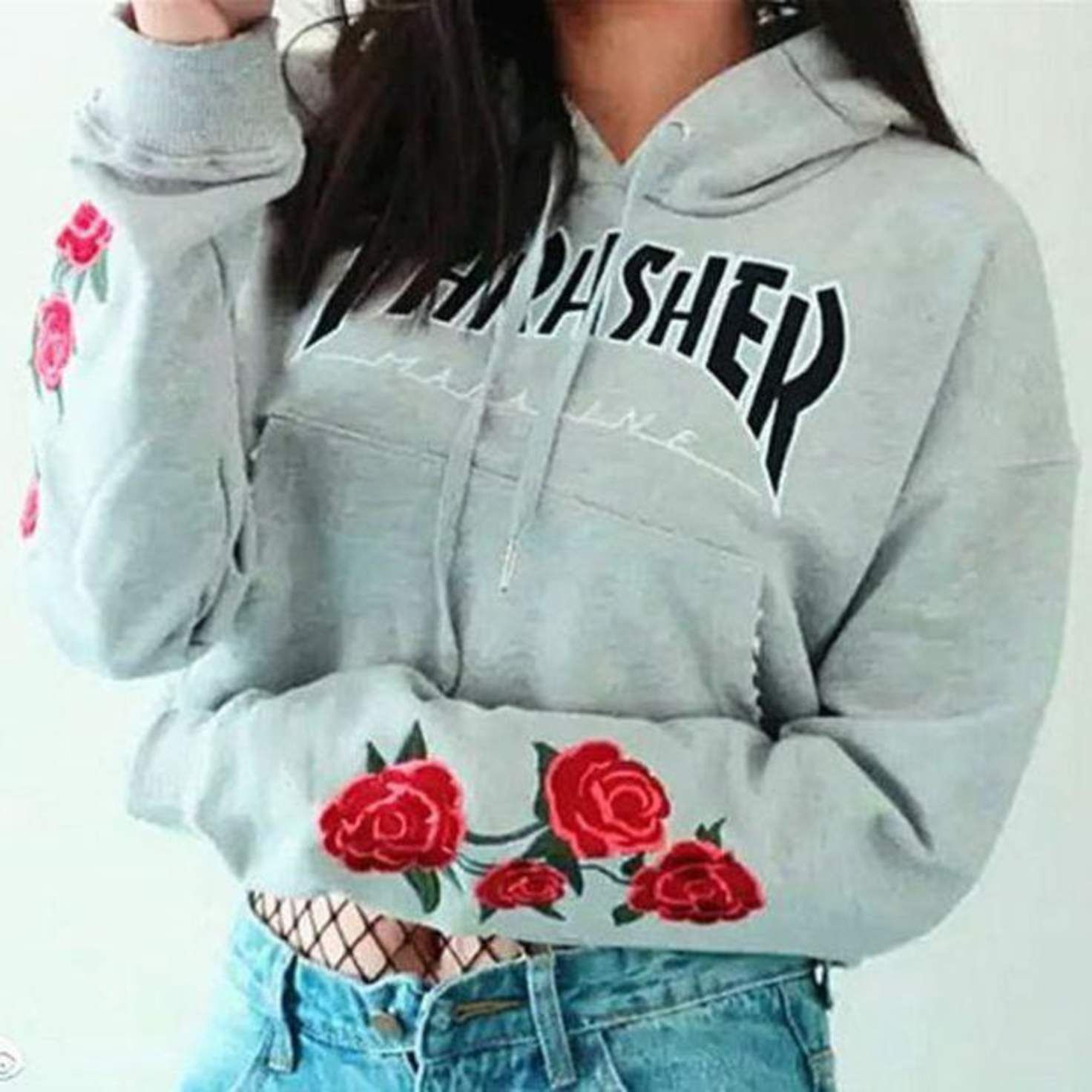 d2cb7fa5a341 Thrasher Fashion Trending Embroidery Rose Long Sleeve Print Hoodie Top Sweater  Pullover Sweatshirt Grey