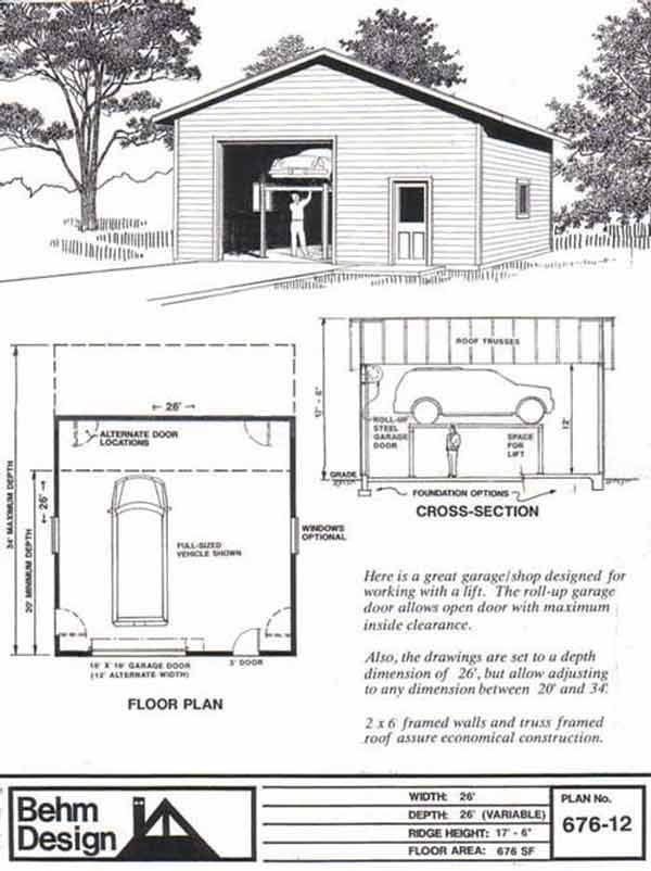 1 Car Automotive Garage Plans 676 12 26 X 26 By Behm Designs Garage Plans Garage Design Garage Floor Plans