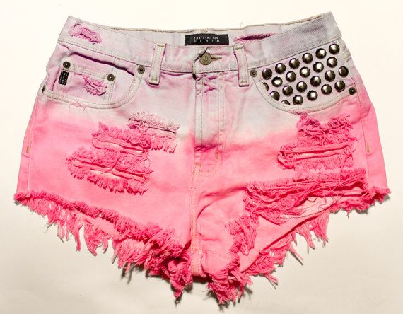 bright pink and pastel purple ombre / vintage denim / dome studs & destroyed / high waisted shorts