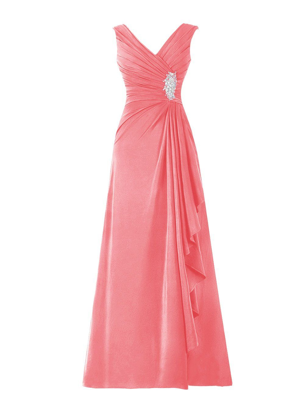 Diyouth Long Chiffon Pleated Ruffles Mother of the Bride Dress Coral ...