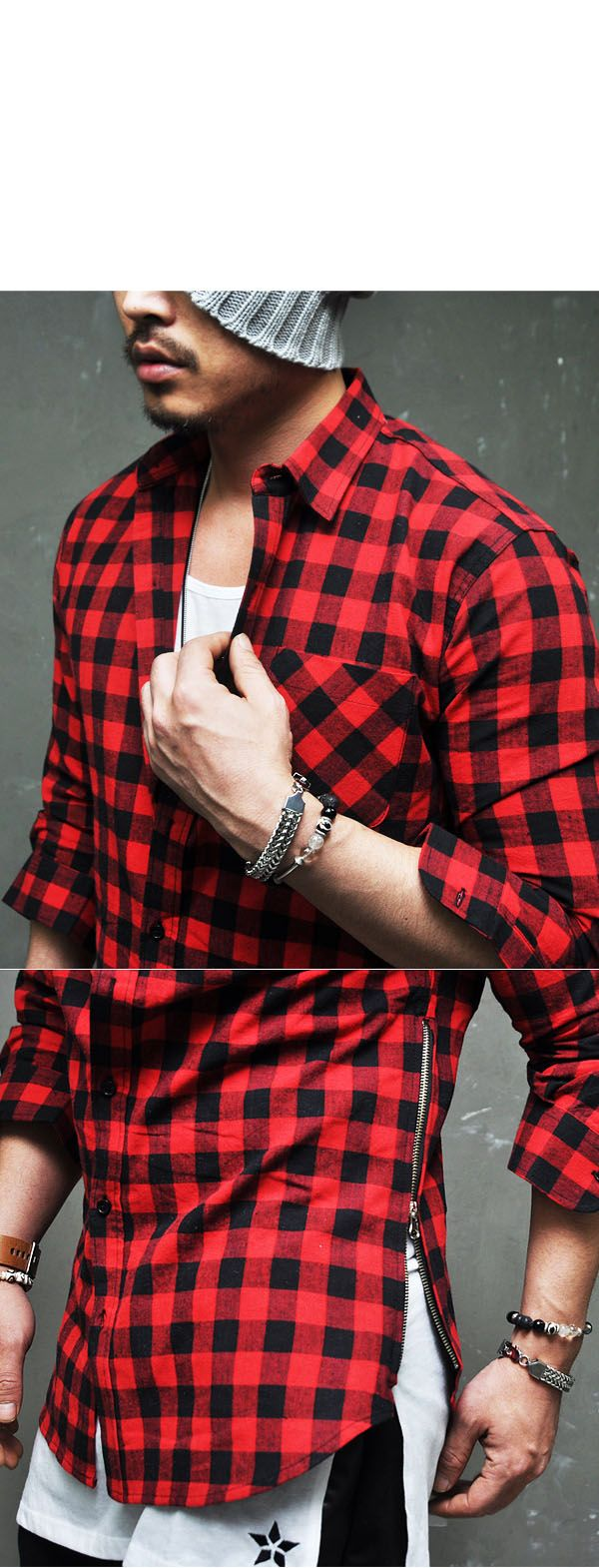 Tops :: Shirts :: Must-have Side Zip Red Flannel Shirt-Shirt 113 - Mens Fashion Clothing For An Attractive Guy Look