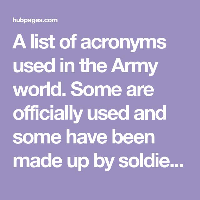 Army Acronyms List Official Slang Army Acronym Army Mom